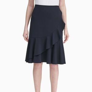 Calvin Klein Scuba Crepe Ruffle Skirt Navy